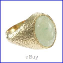 9.32ctw Oval Jadeite Jade Cocktail Ring Brushed 14k Yellow Gold Mens Vintage