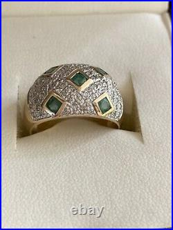 9 Ct Gold Emerald And Paved Diamond Fine Cocktail Ring Band Size N 1/2