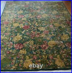 9' x 12' Fine Hand Knotted Wool India Floral Green Garden Oriental Rug Cleaned