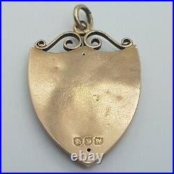 9ct Rose Gold Edwardian Shield Shaped Pendant set With Natural Emerald