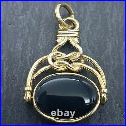 9ct Yellow Gold Double Sided Watch Fob Pendant Onyx & Green Chalcedony 4.68g