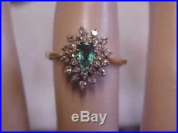 ANTIQUENATURAL PEAR SHAPED EMERALD & OLD CUT DIAMOND RING 14K YELLOW GOLD s7.5