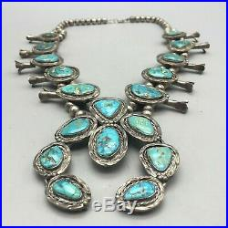 A Great Vintage Turquoise Squash Blossom Necklace with Fine Green Turquoise