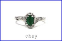 A Lovely Vintage Art Deco Style 950 Platinum Emerald & Diamond Cluster Ring