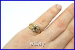 A Superb Antique Georgian Victorian 18ct Gold Emerald & Pearl Cluster Ring