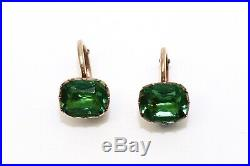 A Superb Pair of Antique Georgian C1800 9ct Gold Foil Back Green Paste Earrings