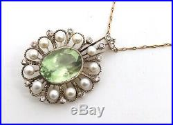 An Antique Edwardian Belle Epoque 9ct Gold Green Amethyst Pearl Diamond Necklace