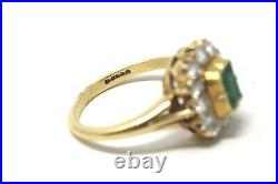 An Excellent Vintage Victorian Style 18ct Gold Emerald and Diamond Cluster Ring