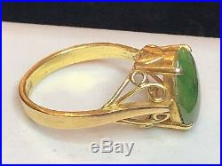 Antique 14k Gold Genuine Natural Green Jade Ring Art Deco Not Dyed Engagement