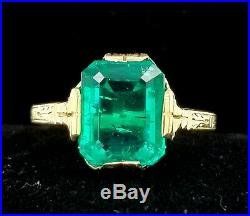 Antique 14k Yellow Gold Ring 3.35ct. Gem Green Colombian Emerald