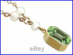 Antique 3.16 ct Peridot and Seed Pearl, 15Carat Yellow Gold Pendant, 1900s