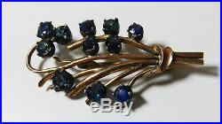 Antique Art Deco 9ct Rose Gold Natural Blue Green Sapphire Floral Spray Brooch