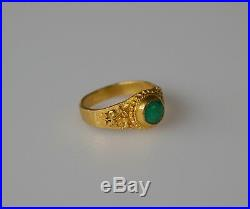 Antique Chinese 24K Solid Gold Jadeite Jade Ring 4.5g Very Fine