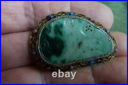 Antique Chinese Export JADE Silver pin-cloisonne-FINE-extremely good silver work