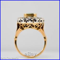 Antique Emerald Rose Cut Diamond Halo Engagement Ring Sterling Silver 14k Gold