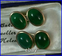 Antique Pair Green Chrysoprase Cabochon and 9ct Rose Gold Cufflinks d2074