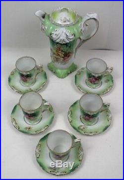 Antique RS Prussia Chocolate Set Saucers Cups Floral Green Fine Dining Grand