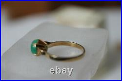 Antique Ring 18K Gold Green Jade Cabochon Solitaire ring 6.5