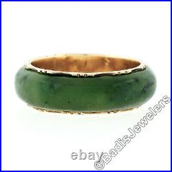 Antique Victorian 14k Yellow Gold & Domed Natural Green Jade 6.8mm Band Ring