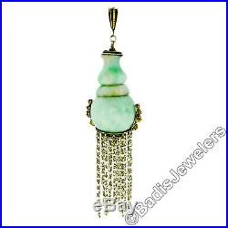 Antique Victorian 14k Yellow Gold Large GIA Natural Jadeite Jade Dangle Pendant