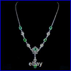 Antique Victorian Green Paste Lavalier Necklace Sterling Silver Circa 1900