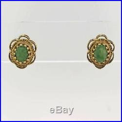 Antique Vintage Estate Green Stone 14k Yellow Gold Earrings