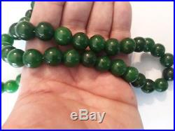 Antique Vintage Natural Chinese Jade Beads Necklace Dark Green 116 Grams