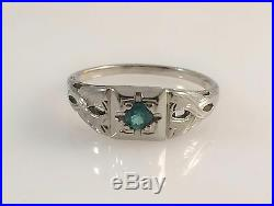 Art Deco 18K White Gold Solitaire. 11ct Natural Green Emerald Ring