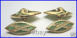 Art Deco Antique Vintage Colombian Emerald Cuff Links 18K Yellow Gold 21.8 Grams