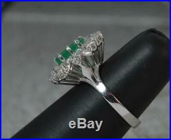 Art Deco Design 18ct White Gold Large Emerald & Diamond Cluster Cocktail Ring