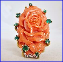 BIG Vintage 14K Yellow Gold Ring with 44mm Carved Coral & Emeralds (30.8g, size 9)