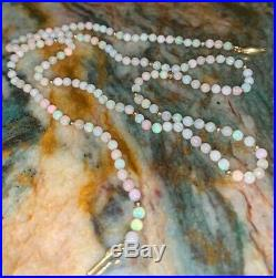 Beautiful 59.5 cm opal bead necklace with interspersed 18K gold beads