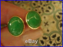 Beautiful, Finely Crafted 14CT GoldLustrous Cabochon Cut Jade Gemstone Earrings