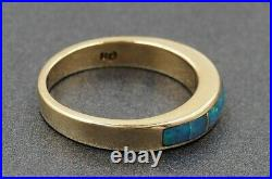 Black Opal Womens Ring 14ct Yellow Gold Blue & Green Flashes Fine Jewelry