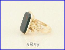 Bloodstone Ring 10k Yellow Gold Art Deco Antique Ring size 7
