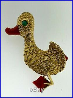 CARTIER 18Kt Yellow Gold, Emerald+CoralVintage Duck Pin/BroochEstateItaly