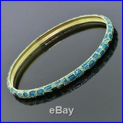 Cartier Vintage Jewelry 18K Yellow Gold Green Cyan Enamel Bangle Bracelet