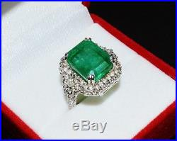 Certified Natural 11cts Zambian Emerald VS F Diamond 18K Solid Gold Dinner Ring