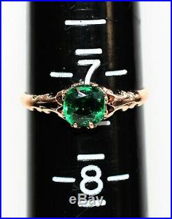 Chatham Emerald 1.30ct 14kt Rose Gold Solitaire Antique Women's Ring