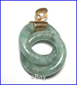 Chinese Small Two Donuts Shape Green Celadon & 14 Kt Gold Medallion Pendant