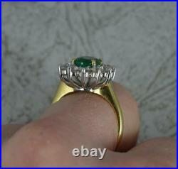 Classic 18 Carat Gold Emerald and Vs 1.2ct Diamond Cluster Ring