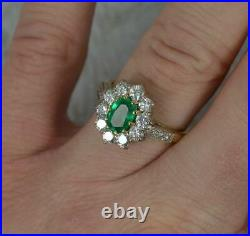 Classic 18ct Gold Emerald and Vs 0.95ct Diamond Cluster Ring