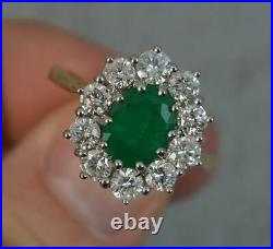 Classic 2.00ct Emerald 1.50ct Diamond 18ct Gold Cluster Ring d0401