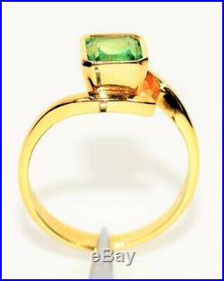 Colombian Emerald 1.15ct 18kt Yellow Gold Solitaire Statement Women's Ring
