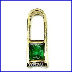 Colombian Emerald Pendant 0.50Ct. Emerald Cut 18K Yellow Gold Fine Jewelry