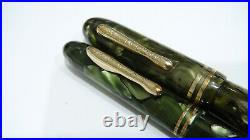 Conklin Set, Green Marble, Made In Usa, 1930's, Firm 14k Fine Nib