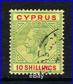 Cyprus 1921-23 10/- Green & Red Sg 100 Fine Used