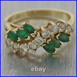 EFFY Solid 14k Yellow Gold. 30ct Marquise Emerald. 65ct Diamond Band Ring