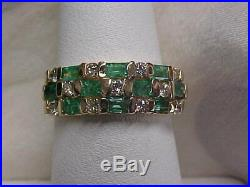 ESTATE1.44ctw NATURAL GREEN EMERALD & DIAMOND BAND-RING 14K YELLOW GOLD sz7
