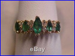 ESTATENATURAL MARQUISE CUT EMERALD & DIAMOND RING 14K YELLOW GOLD sz7 BUY NOW